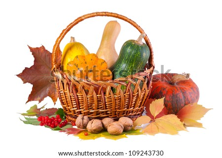 Autumn still-life with pumpkins in basket, isolated on white