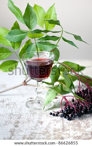 Autumn Still-Life with ripe black Elder Berries and juice - stock photo