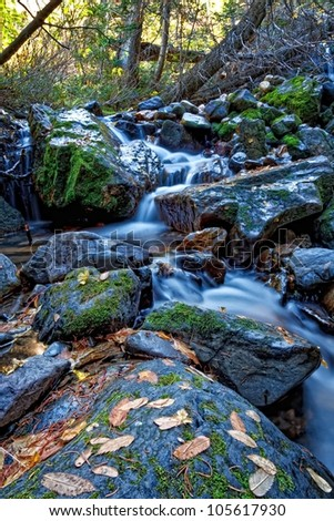 autumn stream waterfall running through autumn leave covered boulders