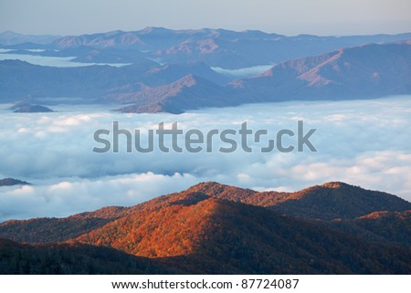 Autumn sunrise from Clingmans Dome, Great Smoky Mountains National Park, Tennessee, USA