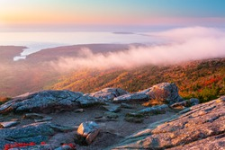 Autumn Sunrise in Acadia National Park, Maine from top of Cadillac Mountain