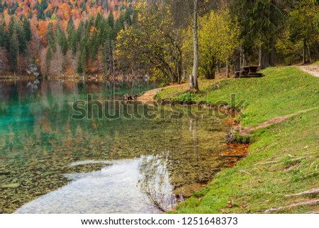 Autumn sunrise on the lower lake of Fusine. Explosion of colors #1251648373
