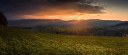 Autumn sunset landscape at Lower Silesia/Poland