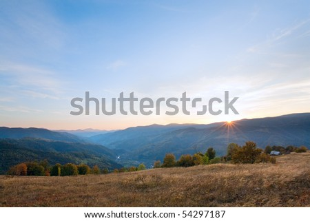 Autumn sunset mountain view (Carpathian, Ukraine)
