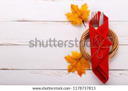 Autumn table setting on white wooden table Thanksgiving or octoberfest vintage background