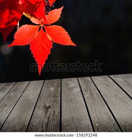 autumn theme and empty wooden deck table. Ready for product montage display