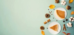 Autumn theme with pumpkin pies - overhead view