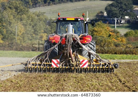 autumn tractor - stock photo