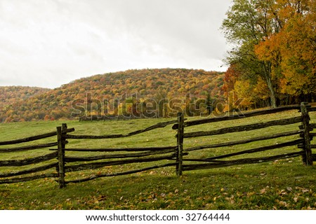 Autumn trees, leaves and fence in Virginia Mountains