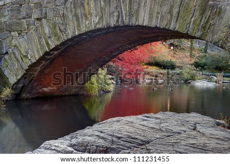 Autumn under Gapstow bridge Central Park, New York City