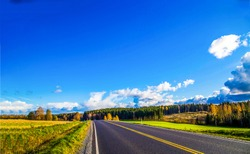 Autumn valley highway road landscape. Highway road in autumn season. Autumn highway road landscape. Autumn highway road