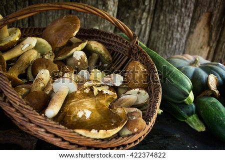 Autumn vegetables like a basket with fresh picked porcini mushrooms, zucchini and a green pumpkin with a wooden background. These are popular food ingredients in the Italian kitchen in fall season. #422374822