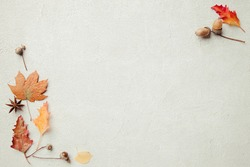 Autumn vibes. Composition of dried leaves on concrete background. Fall, thanksgiving day, seasonal sale concept. Flat lay, top view, copy space