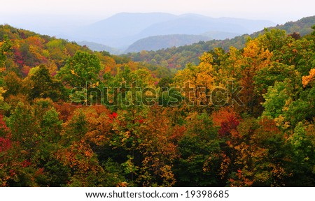 Autumn View in the North Carolina mountains from the Blue Ridge Parkway