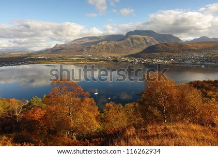 Autumn view of Ben Nevis, Loch Linnhe and Fort William in Lochaber,outdoor capital of the UK.
