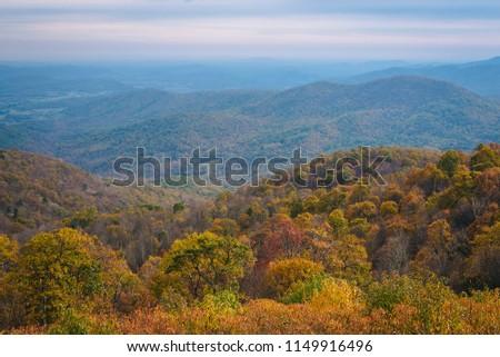 Autumn view of Blue Ridge mountain ridges from Skyline Drive in Shenandoah National Park, Virginia #1149916496