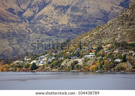 Autumn View of Lake Wakatipu and the Cecil Peak in Queenstown, New Zealand.