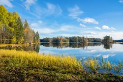 Autumn view of Liesjarvi National Park and Lake, Tammela, Finland