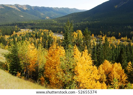 Autumn view of rocky mountains, forests and highway in valley at kananaskis country, alberta, canada