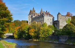 Autumn view of the 17th century 'Château de Durbuy' (Castle Durbuy). Durbuy in the smallest city of Belgium, Province of Luxembourg, Ardennes, Belgium