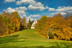 autumn view on castle rosenau in franconia bavaria germany