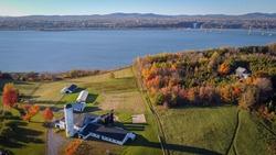 Autumn view on Ile d'Orleans, Saint Lawrence River, Montmorency Falls and Pont de l'Île