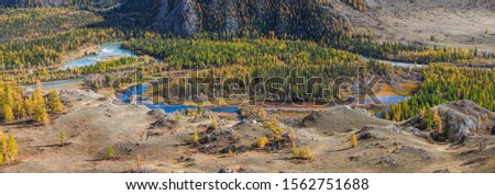 Autumn view. The river flows in a mountain valley, overgrown with forest. Pano, natural background. #1562751688