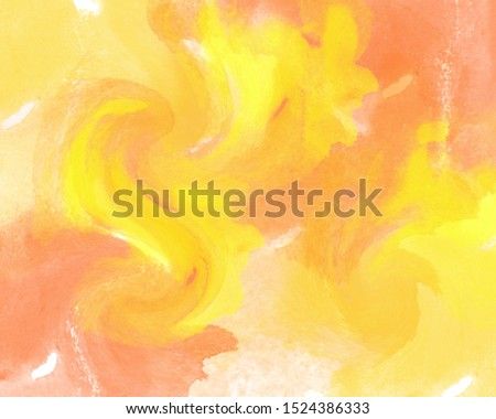 Autumn watercolor abstraction with swirling patterns.
