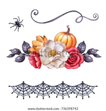 autumn watercolor illustration, Halloween ornaments, fall flowers, pumpkin, festive clip art isolated on white background