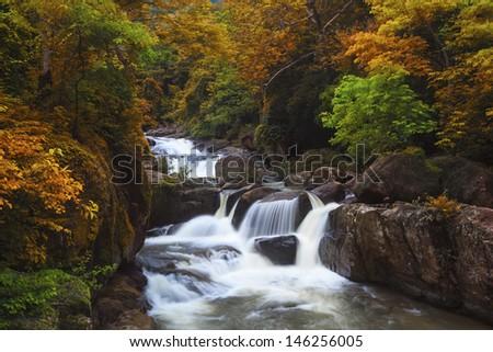 Autumn waterfall in thai national park. In the deep forest on mountain.
