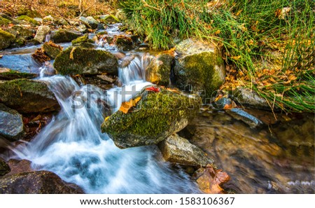 Autumn waterfall leaves rocks view. Mossy rock river waterfall stream in autumn. Autumn mossy rocks waterfall. Autumn waterfall stream