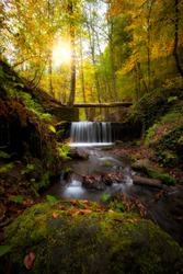 autumn waterfall scenery bolu yedigoller national park, Bolu Turkey