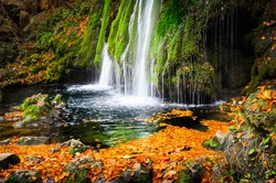 Autumn waterfall with foliage. Cascade landscape in fall