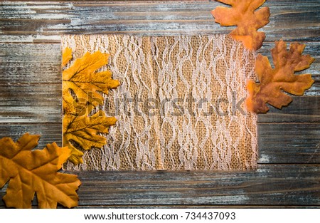 Autumn Weathered Wood Picture Frame with Burlap and Lace Background