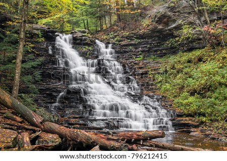Autumn whitewater cascades down F.L. Ricketts Falls, a nearly 40 foot tall waterfall in Ricketts Glen State Park, Pennsylvania. #796212415