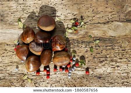 Autumn winter chestnuts on old wooden background with forest berries Stock fotó ©