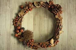 Autumn / winter wreath with a ball and a sword Christmas wreath Horizontal composition