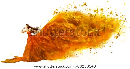 Autumn Woman Art, Fashion Model in Fall Leaves Dress, Long Artistic Fabric Flowing on wind