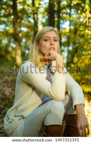Autumn woman. Autumn and leaf fall Dreams. Autumn Clothing and color trends. Autumnal vogue trend