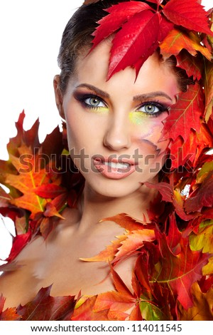 Autumn Woman. Beautiful creative makeup