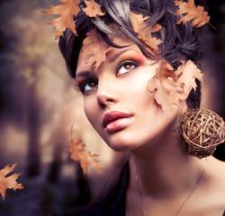 Autumn Woman. Fall. Beautiful Stylish Girl With Professional Makeup