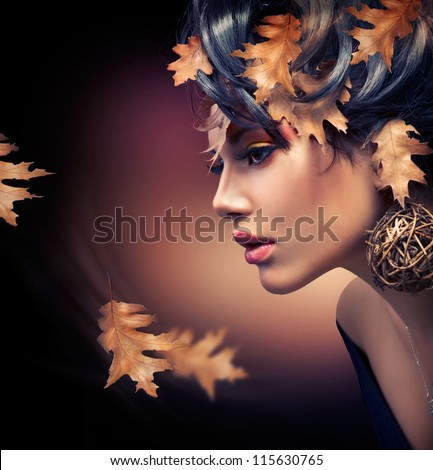 Autumn Woman. Fashion Girl Makeup. Fall Make-up. Hairstyle
