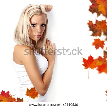 autumn woman holding board