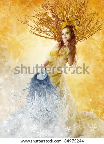Autumn woman holding winter mask. Change of seasons. Floral background.
