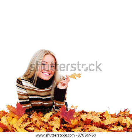 autumn woman in studio on white background