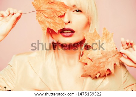 Autumn woman. Place for your text. Autumn leaves background. Autumn leaves. Autumn leaves isolated
