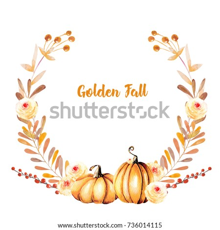 Autumn wreath with watercolor pumpkins, tree branches, fall flowers and berries, hand painted on a white background