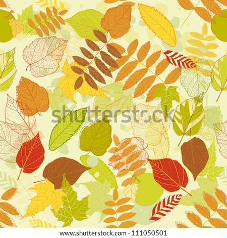 Autumnal bright leaf seamless raster version