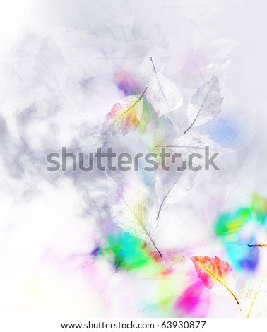 Autumnal color foliage. Watercolour cover  background.
