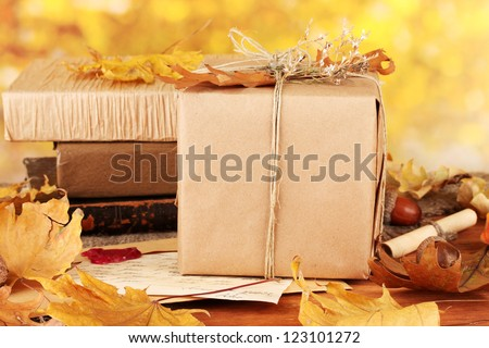 Autumnal composition with gift, books and leaves on bright background